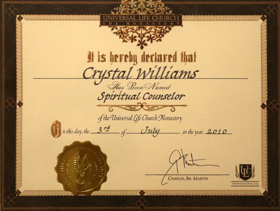 Degrees & Certifications ~Orange County Psychic